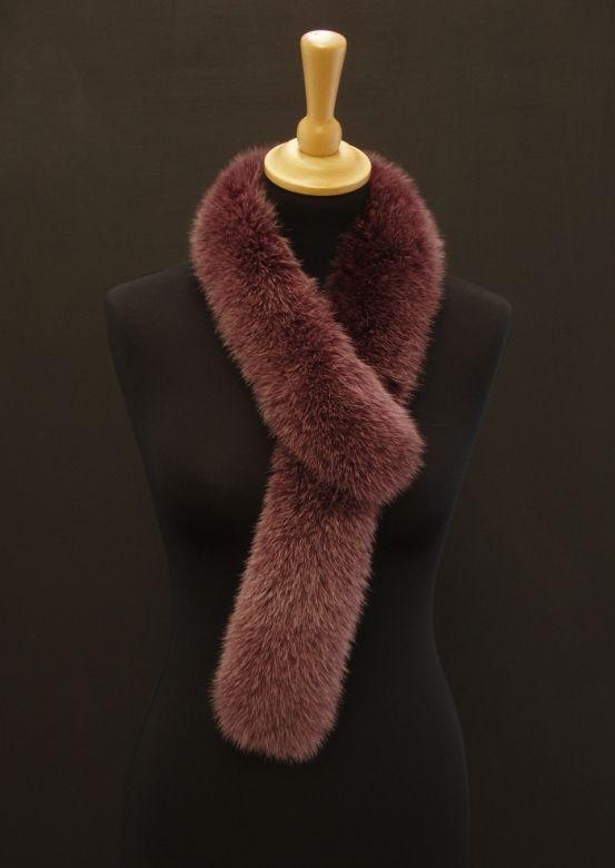 Kožešinová šála z barvené lišky - vínově červená #fur#fox#scarf
