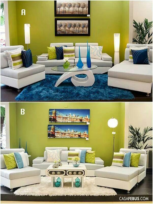 Las 25 mejores ideas sobre salas verde lima en pinterest for Decoracion de sala gris y azul