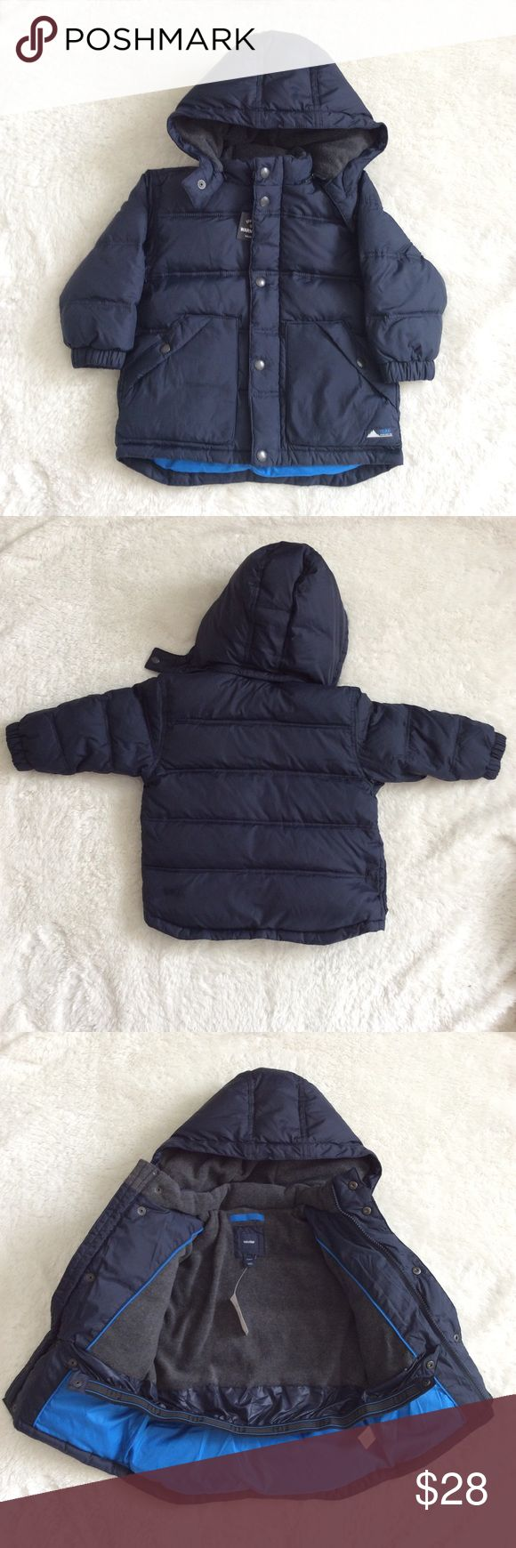Baby Gap Winter Puffer Jacket NWT This jacket is adorable and warm. Navy blue color and zip off hood. Brand new with tags.  Size 2 years.  75% down, 25% feathers. GAP Jackets & Coats Puffers