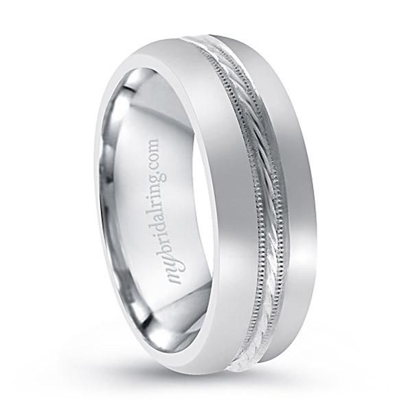 Stylish Hand Woven White Gold Wedding Band with Inlay Design, this Crafted in 14k white gold - OUR PRICE: $1,099.99 - http://www.mybridalring.com/Mens/hand-woven-inlay-white-gold-wedding-band/