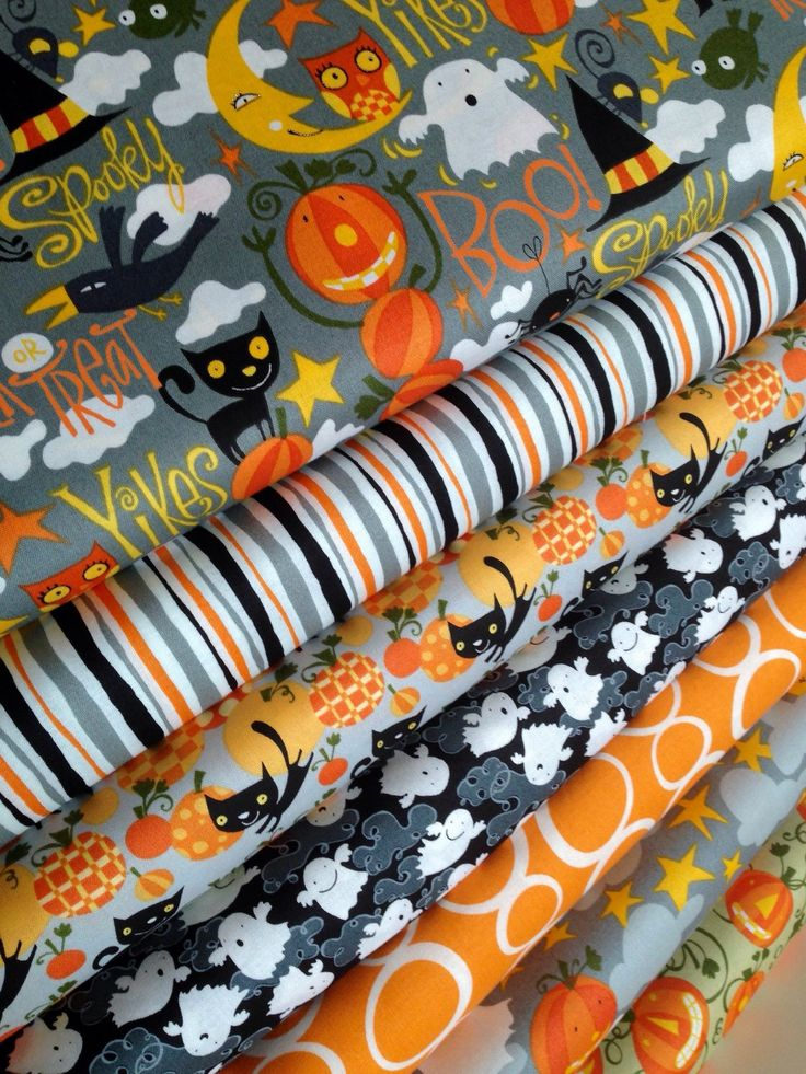 Happy Halloween fabric by David Walker Fabric Shoppe Fabrics- Fat Quarter bundle, 7 total by fabricshoppe on Etsy