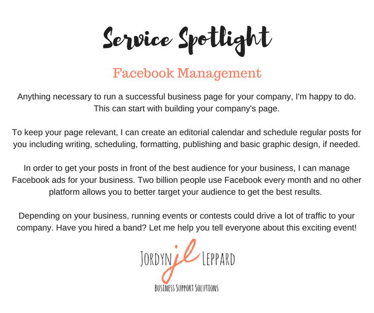 Anything necessary to run a successful business page for your company, I'm happy to do. This can start with building your company's page.  To keep your page relevant, I can create an editorial calendar and schedule regular posts for you including writing, scheduling, formatting, publishing and basic graphic design, if needed.