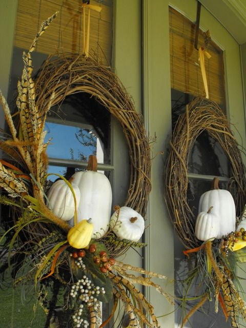 Love: grapevine wreaths, double doors, symmetry.Thanksgiving Wreaths, Ideas, Fall Decor, Front Doors, Halloween Porch, White Pumpkin, Fall Wreaths, Diy Fall, Autumn Wreaths