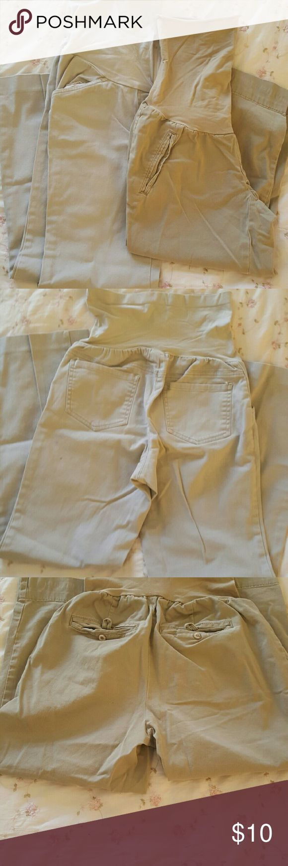 Maternity Pants & Capri Pants Gray maternity Pants & Khaki Capri used two pairs Suze small One is Oh Baby Brand & the other is two hearts maternity. Oh Baby by Motherhood Pants Boot Cut & Flare