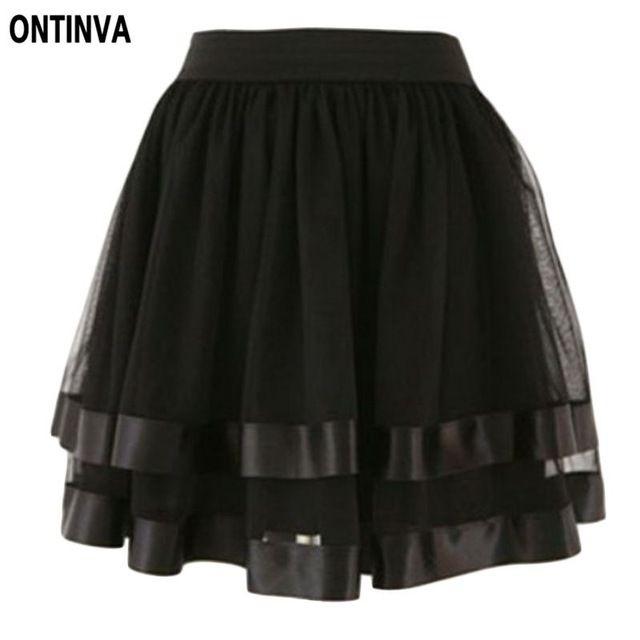 Preto Vermelho Branco Tulle Skirt Belly Dance menina cintura alta Tennis Saia…