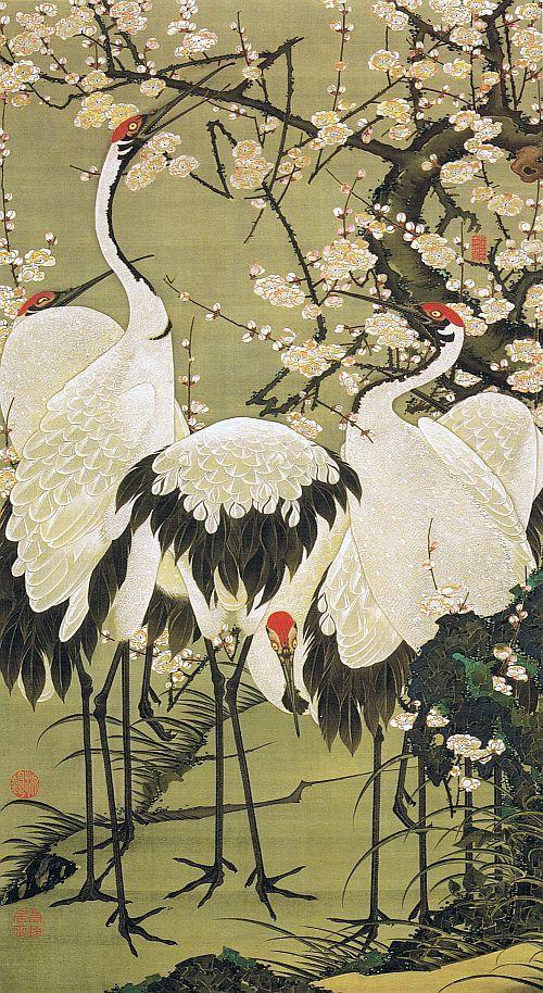 """動植綵絵 第二期( 1761-1765 ), 15. 梅花群鶴図[ばいか ぐんかく ず] , """"Pictures of the Colorful Realm of Living Beings"""", Jakuchu Ito"""
