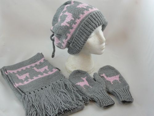 LLama Hat, Scarf & Mittens Set | Free knitting pattern | knitted hat | knitted scarf | knitted mittens | Nixneedles UK