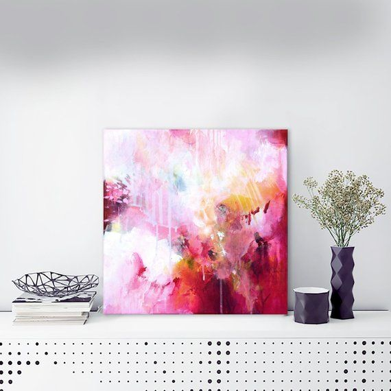 Abstract Acrylic Painting Original Square Abstract Art On Stretched Canvas 15 75 X 15 75 Modern Red Pink Wall Art Painting Ready To Hang Abstract Painting Acrylic Abstract Pink Wall Art