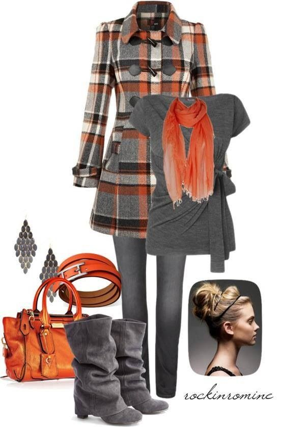 Attracted to the cute coat, matching the color pop with scarf and purse .