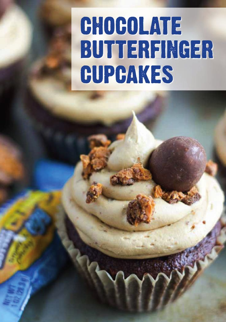 During your Easter celebrations with family and friends, make this delicious recipe for Chocolate Butterfinger Cupcakes. This delectable dessert is topped with a peanut butter buttercream frosting and the crispety, crunchety, peanut-buttery taste of BUTTERFINGER® Cup Eggs. Filled with flavor, this is the perfect treat to serve over the holidays.