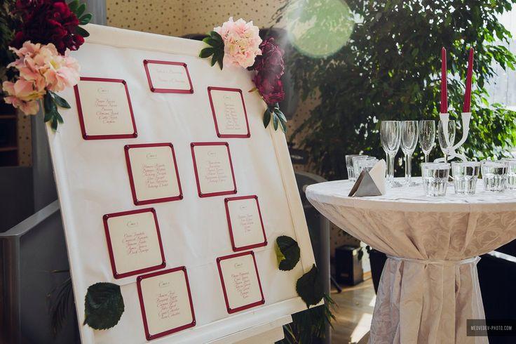 План рассадки гостей для свадьбы в цвете марсала
