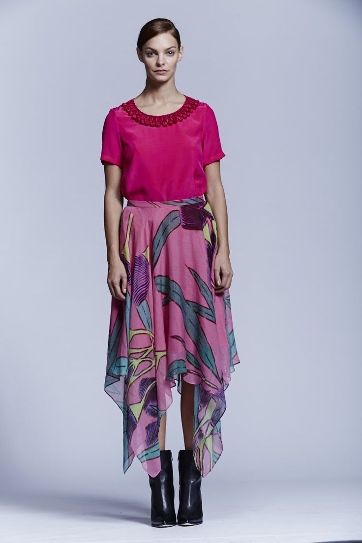 Pink Crepe Short Sleeved Top and Native Flower Handkerchief Skirt. Roopa Pemmaraju Spring/Summer 2014/15, Urban Culture Collection. Artist: Reko Rennie (Skirt)