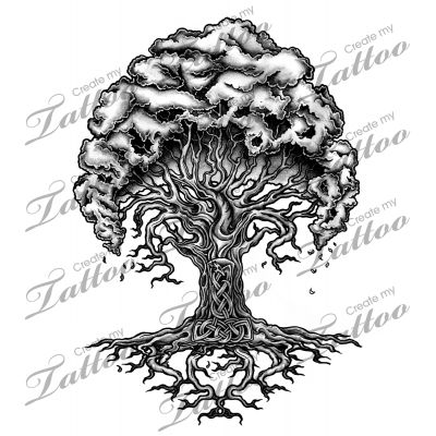 Marketplace Tattoo Yggdrasil - Norse Tree of Life #13947 | CreateMyTattoo.com
