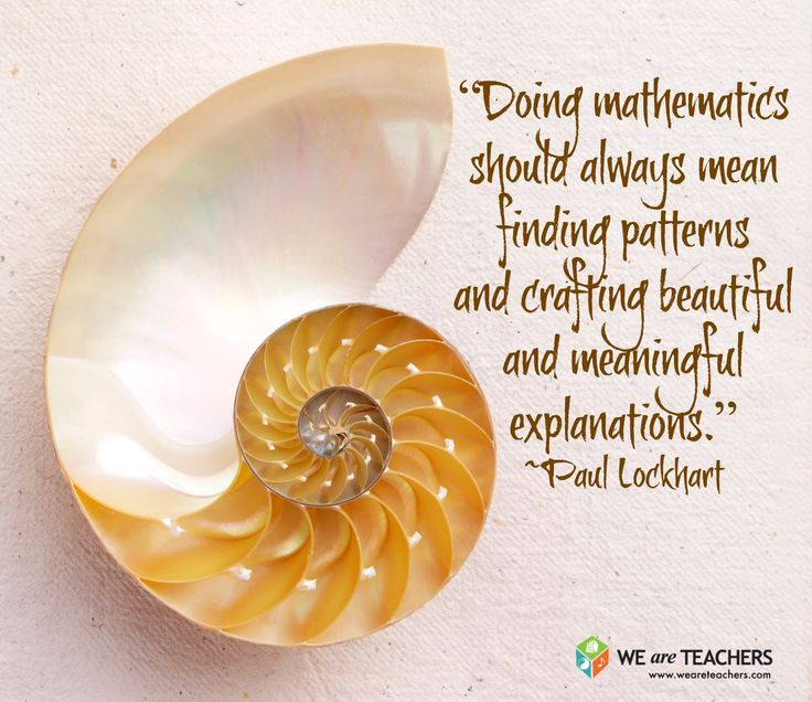 """""""Doing mathematics should always mean finding patterns and crafting beautiful and meaningful explanations.""""  ― Paul Lockhart"""