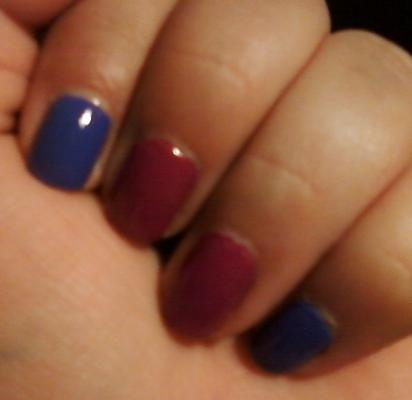 """So going through my nail polish collection I realize I have not used two of the Wet n Wild Megalast polishes. Since at the moment I'm loving the color blocking the ladies from eleventhgorgeous (youtube) have being rocking these days.    These two colors are perfect together.    This is """"On A Trip"""". It a purple color, no shimmer or glitter. It looks great alone or with another color.    This one is """"Trough The Grapevines"""" and it's a dusty rose color, no shimmer or glitter."""
