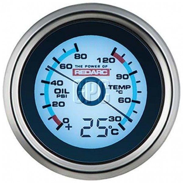 Redarc Oil Pressure Water Temperature 52mm Gauage With Optional Temperature Display 4x4 Vehicle Gauges Caravan Rv Vehicle Gauge Gauges Oil Pressure
