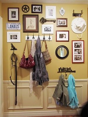 gallery wall idea- cross, initials, mirror, small shelf, plate, hook, small cross stitch, vintage stuff, old pics, old door knob, empty frame