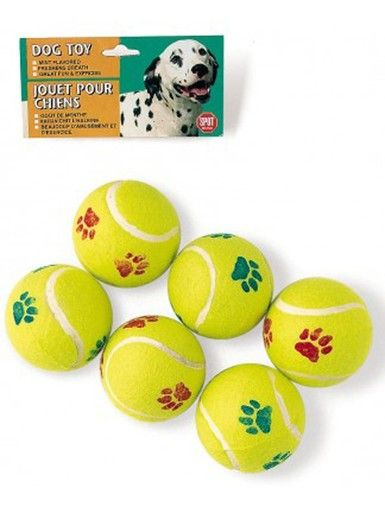 Ethical Pet Products Spot Tennis Ball Value Paw Print Fun Durable Dog Toy 6 Pack