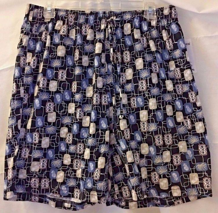Boca Classics Men's Sleep Lounge Shorts Size L Blue Pineapples and Palm Trees  #BocaClassics #SleepShorts