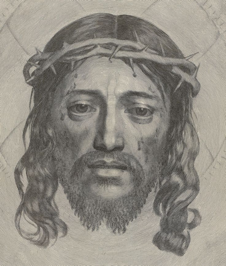 Line Drawing Jesus Face : Claude mellan sudarium of saint veronica engraving by