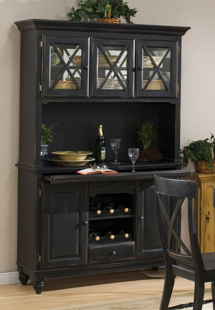 Best 25 black hutch ideas on pinterest painted china hutch antique hutch and black library - Dining room chairs china hutch designs ...