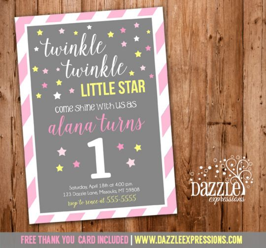 Printable Girl Twinkle Twinkle Little Star Birthday Invitation | Pink, Gray and Yellow | Girl ...
