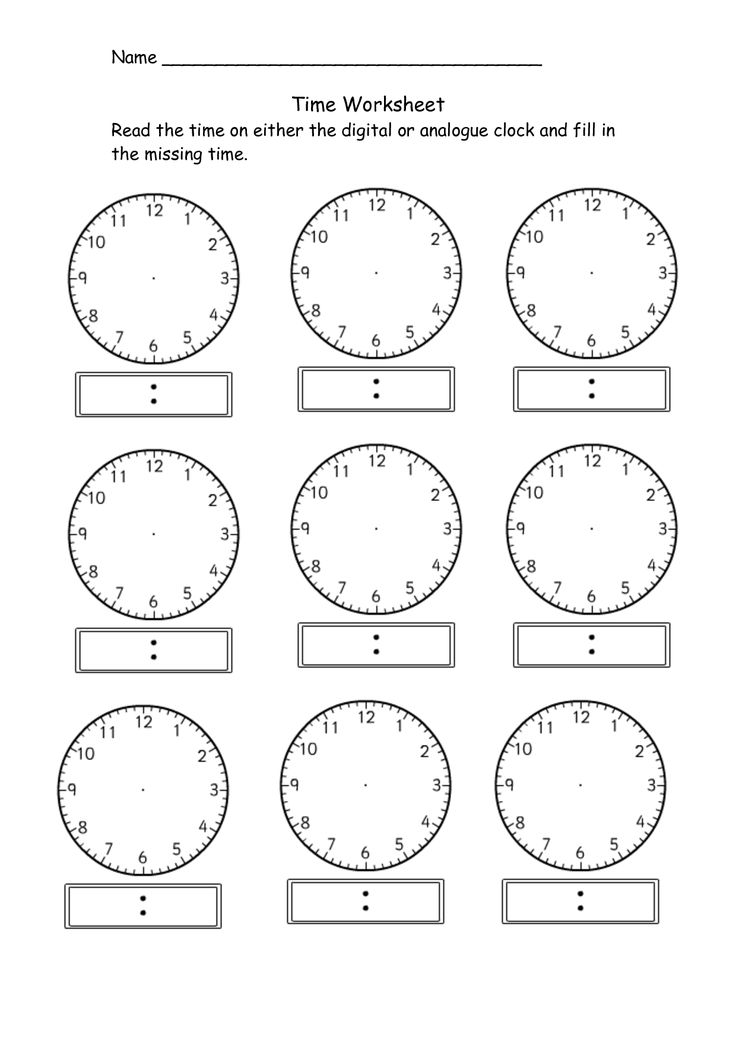 blank clock worksheet telling time | Kiddo Shelter