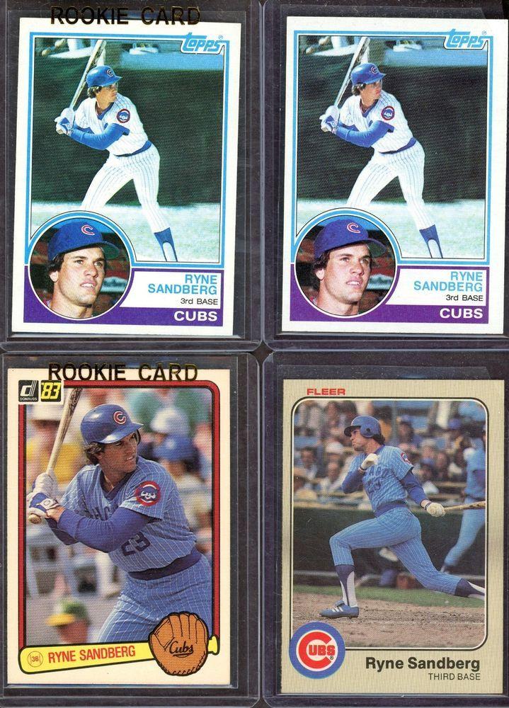 Lot Of 4 1983 Topps Fleer Donruss Ryne Sandberg Cubs Rc