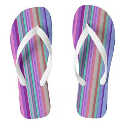 Colorful Parallel Vertical Stripes Flip Flops - pattern sample design template diy cyo customize