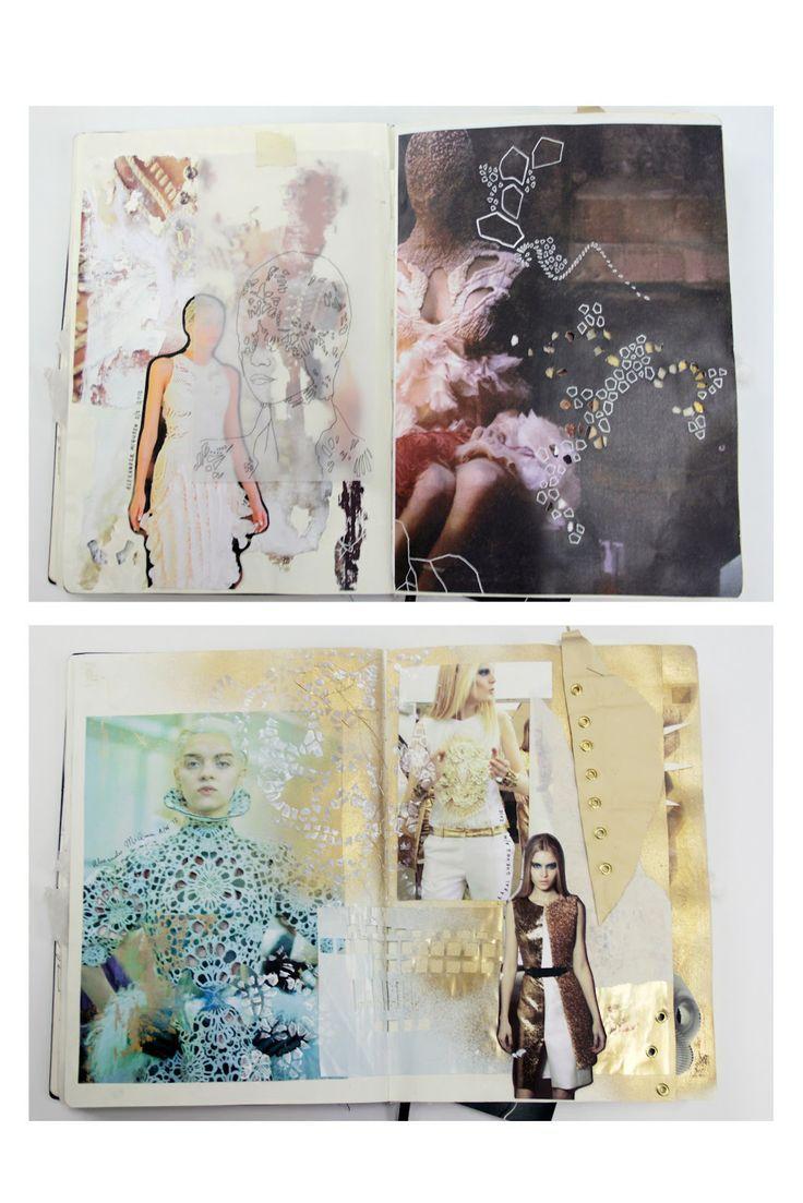Fashion Sketchbook research, sketches & experimentation with delicate cut-out surface patterns - fashion design development; the fashion designer's creative process; fashion portfolio // Natasha Elliott