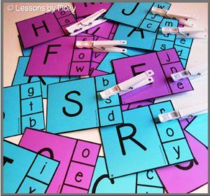FREE!  Alphabet clip cards.  Match the uppercase letters with the corresponding lowercase letters.  I used clothespins but paperclips might also work.