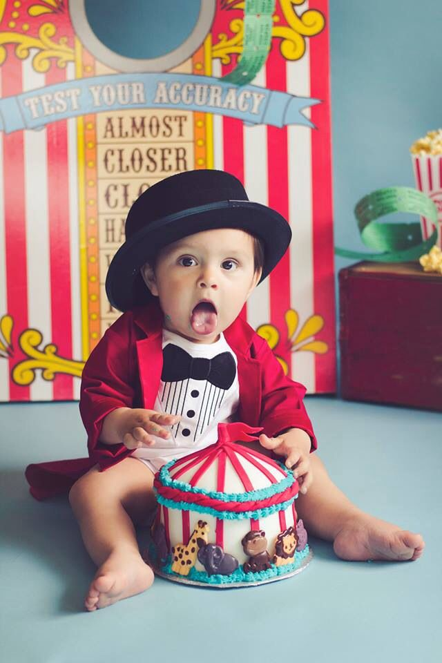 Circus Themed 1st Bday Cake Smash 1st Birthday Photo