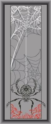 Alessandra Adelaide - AAN Spider Banner - Cross Stitch Pattern. Model stitched on grey fabric of your choice with DMC floss. Stitch Count: 130W x 374H.