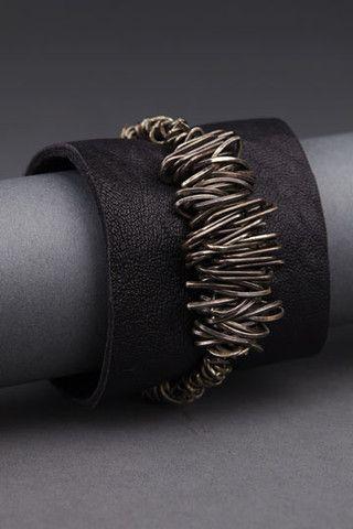 Heavy Chain in Sterling Silver on Wide Leather | Andrea Gutierrez Jewelry