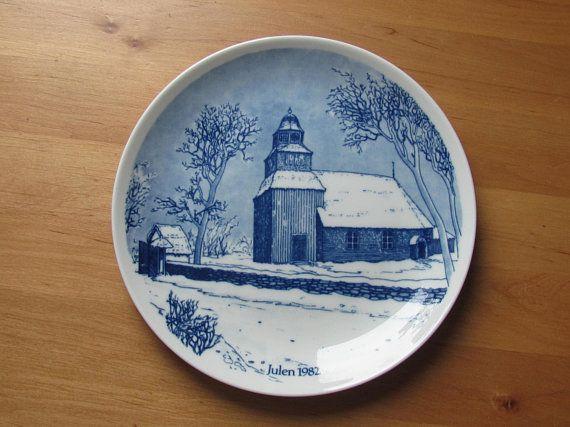 Scandinavian Vintage Plate / Wall Decor; Scan-Lekven Design APS Danmark Limited Edition Blue & White Porcelain Plate SEGLORA Kyrka Stockholm