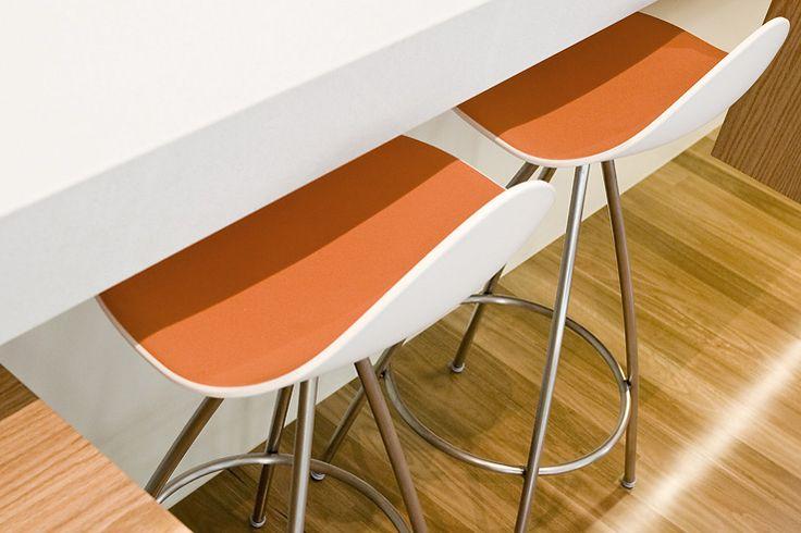 orange + white stools www.studioldm.com.au
