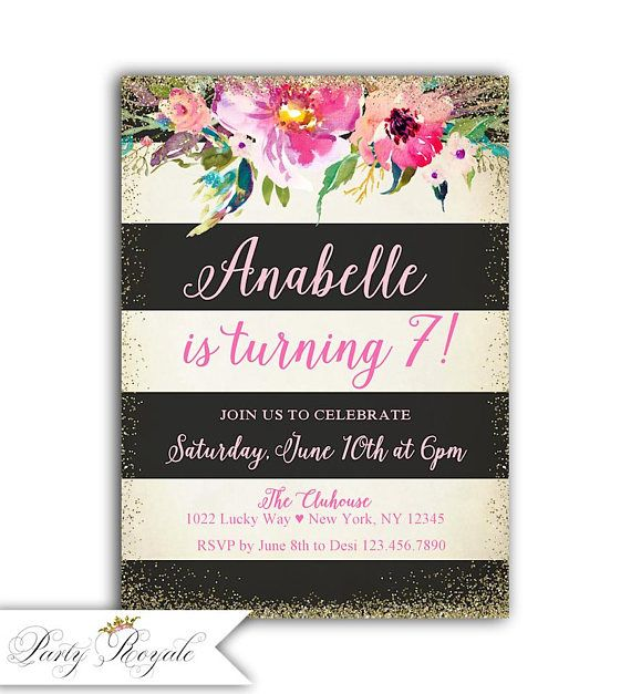 141 best girls birthday invitations images on pinterest convites girls 7th birthday invitation 7th birthday invites stopboris Image collections
