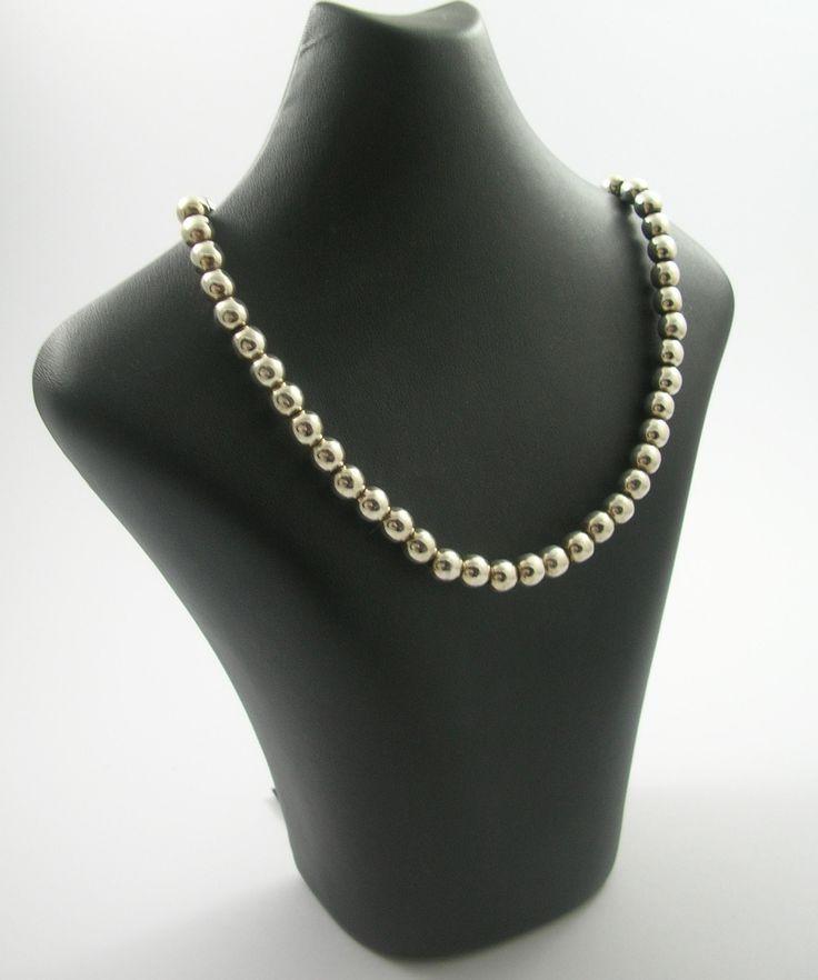 emprades vintage + design - Vintage Mexican Sterling Silver Ball Necklace