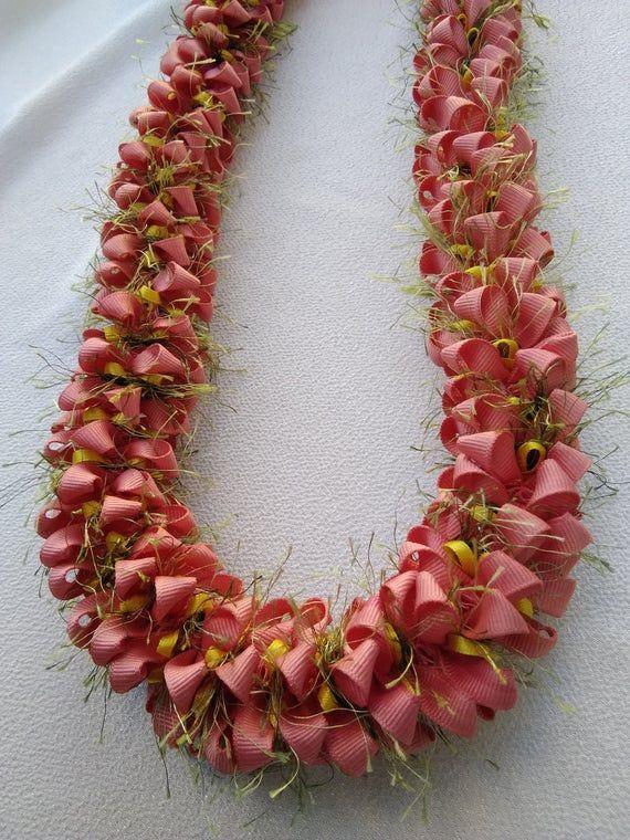 Salmon pink hawaiian ribbon lei