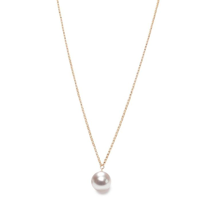 """White XXL Pearl Pendant on Long #Necklace by British jeweller ORA Pearls. Free worldwide shipping. #Necklace Chain of 35"""". Pearl diameter of 14-15mm. Freshwater pearl.   Emerging Designer Jewellery Boutique // London based // Free Shipping // Songofjewellery.com"""