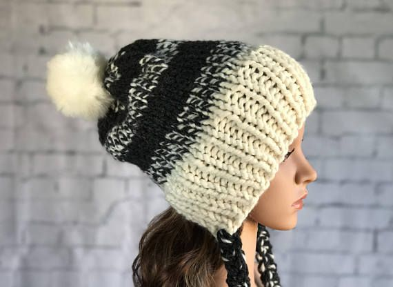 Split Brim Knit Hat / Split Brim Hat with Pom Pom / Chunky Knit Hat / Women's Winter Hat / Warm Cozy Knitted Hat / Faux Fut Pom Pom Hat
