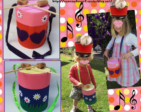 Axelle voulait jouerdu tambouravec Solinedonc nous avons repris la même fabrication avec une boîte de lait bébé que Lison avait réalisé en juin pour la fête de la musique cette fois ci pour ...