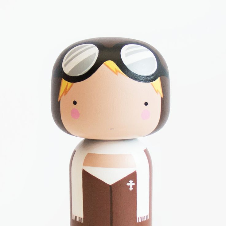 AMELIA KOKESHI DOLL Inspired by the first woman to fly solo across the Atlantic Ocean..Amelia Earhart. Each Doll is made from Beech wood, meticulou...