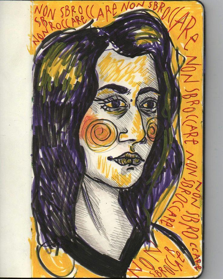 Selfportrait illustration drawing by @distrofiamuscolare