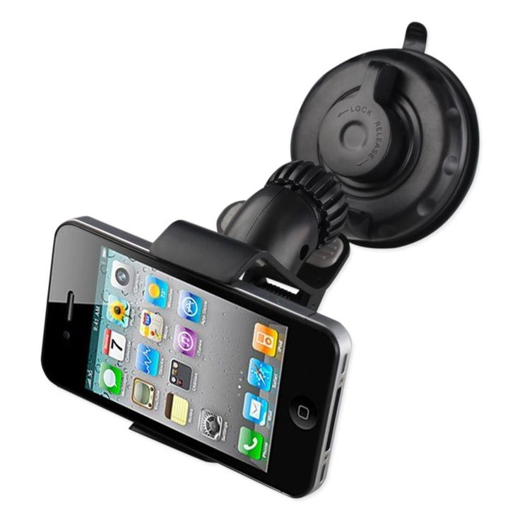 Reiko Phone Holder For Car (Suction On Glass) Clip Iphone Black