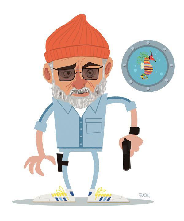 Paul Gill→Murrays: Film, Art Illustrations, Murrays Illustrations, Billmurray Wesanderson, Bill Murray, Zissou Art, Buy Zissou, Movies