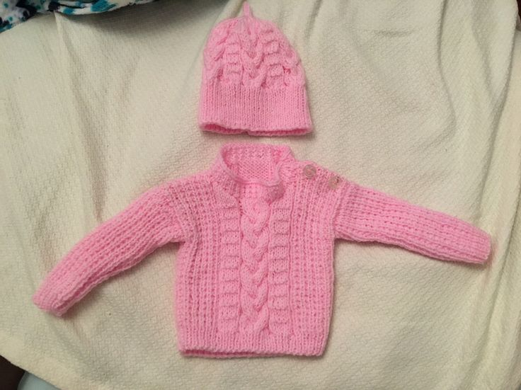 Gorgeous hand knitted sweater and matching hat
