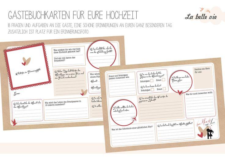 Hochzeitsgästebuch - Gästebuchkarten Hochzeit, DinA5 - ein Designerstück von La-belle-vie-4you bei DaWanda