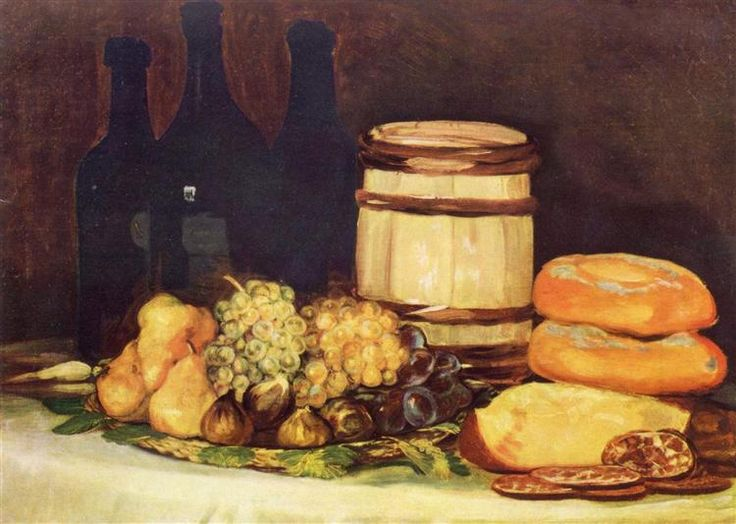 Still life with fruit, bottles, breads - Goya Francisco
