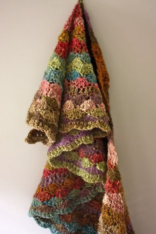 Sea shell wrap in pretty Noro colors. Pattern here http://www.ravelry.com/patterns/library/tea-wrap---sea-shell-wrap